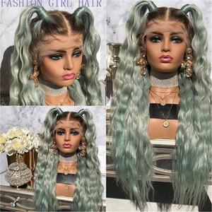 Новый ломбера зеленый бразильские полный шнурок передние парики шнурка Colored 360 Фронтальная парик Ombre синтетические парики волос Preplucked для женщин