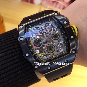 الجديد 9 أسلوب أفضل الساعات RM11-03 الأسود PVD Autoamtic الرجال ووتش الهاتفي الهيكل العظمي الأسود الشريط المطاط رجال المعصم M18C