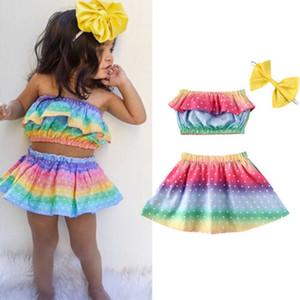 0-3Y infantil del verano del bebé sistemas de la ropa de las colmenas del arco iris envolvieron Conjuntos Pecho + falda + banda de sujeción