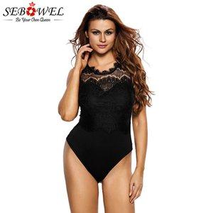 SEBOWEL Noir / Blanc dentelle transparente Objet ou sujet détouré dos nu Femme Bodysuit manches Femme évider Femme Body Top Vêtements d'été