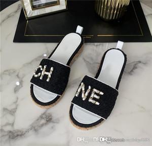 Primavera / Verão de 2020 novos chinelos senhoras gaze clássico lã chinelos plataforma pano com uma altura do salto de 4,5 cm de altura com embalagem completa