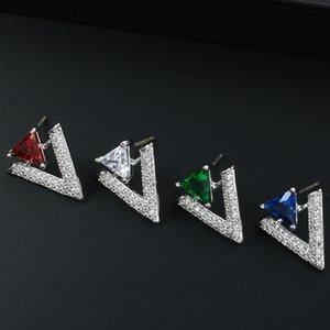 Moda-Geometrik Üçgen Dangle Küpe İçin Kadınlar Taşlı Harf Stud Küpe 925 Gümüş Düğün Takı Bling
