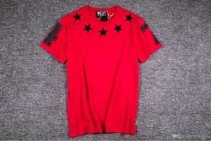 Fashion mens designer t shirts Stereo embroidery flocking Pentagonal Star 47 Short-sleeved T-shirt for Men and Women 2019