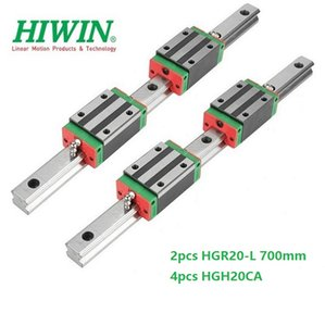 2pcs Original New HIWIN HGR20 - 700mm linear guide rail + 4pcs HGH20CA linear narrow blocks for cnc router parts