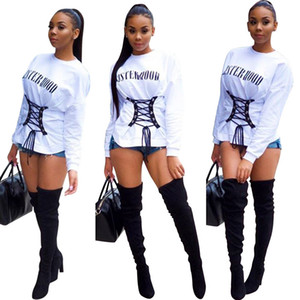 Mulheres tops outono inverno best selling carta impressão digital ilhós cinta T-shirt top branco casual streetwear xl tops 812