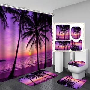 Crépuscule Plage Plantes Poliban Violet Polyester Salle de bain Ensembles de rideaux Piédestal Tapis Couvercle WC Couverture non-Slip Tapis de bain Tapis