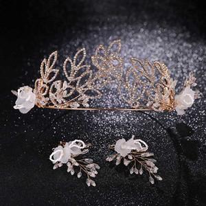 FORSEVEN nuevo de la manera delicada joyería de los granos del cristal tiaras coronas pendientes vendas de boda de la novia del partido Establece Adornos de pelo