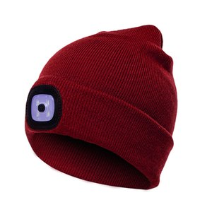 Unisex Kintted Hat Built-in 4Pcs Led Lights Autumn Winter Warm Beanie Cap Outdoor Flashlight Lamp for Camping Hiking Fishing Walking Running