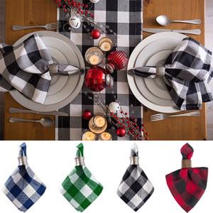 Plaid Platzdeckchen europäischen Stil Einfache Gewaschene Serviette Schwarzweiss-Plaid Baumwolle Gourmet Insulated Serviette Geschirrtuch XD23188