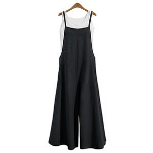 Femmes Coton Lin Lâche Salopette Longue Bretelle Jumpsuit Bib Baggy Romper Pantalon Combinaison Plus Taille (S-5XL) 5 Couleurs