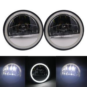 Para Electra Glide Road King Tri Glide 4 1/2 4,5 polegadas Refletor LED nevoeiro luz branca halo passando lâmpada
