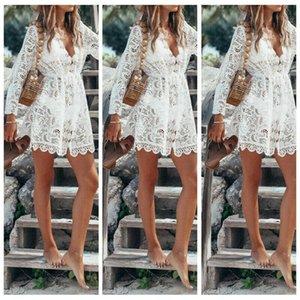 2020 New Sexy Women Flare Sleeve Lace Dress Crochet Knit Bikini Beach Cover Up Dress Fashion