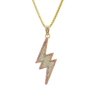 Hip-hop Lightning Necklace Colgante de taladro completo Collar de aleación chapado en oro Colgante de estilo rap Colgante creativo Alta calidad