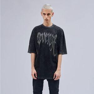2 colores Hip Hop letras de las lentejuelas camiseta de prendas de vestir-lavado intenso algodón suelta Tee Tops extensión de largo