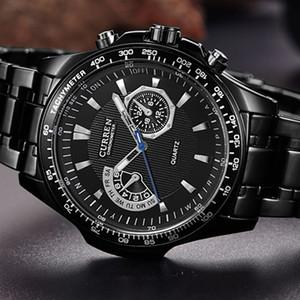 Herrenuhr CURREN Mode-Geschäfts-Quarz-Uhr-Mann-Sport voller Stahl wasserdichte Armbanduhr Männliche Uhr Relogio Masculino