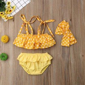 Cabritos del niño de la niña de la polca de la onda 3pcs Yellow Point bikini conjunto traje de baño de baño de natación 1-6years