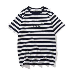 Jeans USA Mens rayé T-shirts d'été Mode broderie Designer T-shirts manches courtes Tops Vêtements
