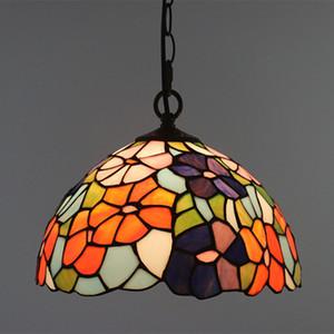 12 İnç Vitray Çiçekler Hanglamp Kolye Işıklar E27 LED Asma Işık Armatür Koridor Süspansiyon Armatür kolye Lambalar