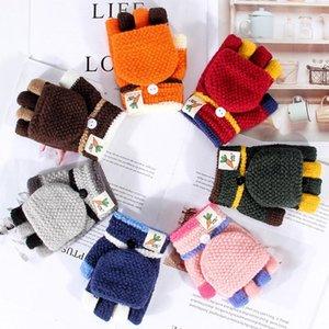 Обложка Прекрасные Дети зимние перчатки Мягкие вязаные теплые Мальчики Девочки Перчатки варежки Новый мультфильм Half Finger Флип Для детей