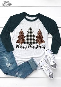2020 Fashion Women T Shirt Merry Christmas Tree Plaid Leopard Printed Female T Shirt Cute Tee Casual Ladies Tops Tee
