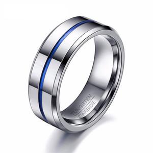 2018 nouvelle mode anneau de tungstène mince ligne bleue cadeau de mariage 8MM tungstène bijoux cadeau hommes bague en carbure