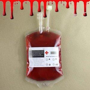 Свободный DHL Shippig 200шта Clear Food Grade ПВХ Материал многоразовых крови Энергетический напиток сумка Хэллоуина сумка Реквизит Vampire 350мл ж аксессуары