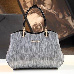 Bags 2020 new simple fashion patent leather handbag female middle-aged mother handbags leather shoulder bag Messenger Bag