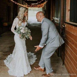 2020 Mermiad boda atractivo del cordón del país vestidos de manga larga con cuello en V piso de longitud sin respaldo apliques Vestido de novia Vestidos de novia apliques