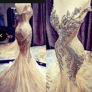 Major Beading Prom Dresses With Sheer Neckline Crystals Beads Luxury Mermaid Evening Dress Lace Up Back Celebrity Pageant Dress