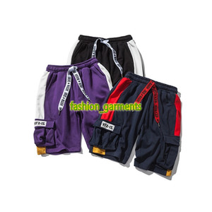 2019 verano nuevo pantalón corto para hombre de tendencia pantalones ocasionales de estudiantes Hit color de los cordones Tooling cortocircuitos ocasionales Mens estilista cortos de personalidad