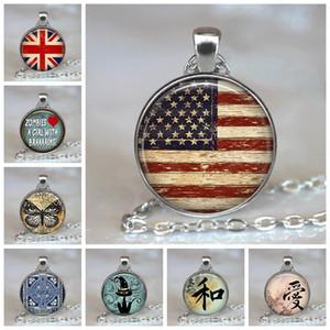 США Британский Флаг Мода Женщина Мужчина Ювелирные Изделия Америка Британский Флаг Великобритания Стекло Кабошон Кулон Ручной Работы Ожерелье Подарок