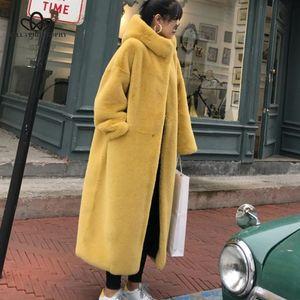 La filosofia Bella 2019 Inverno Solid Cappuccio Donne Faux Fur Coats signore spessore caldo Outwear pelliccia Giacche femminile allentato lungo cappotto T191026