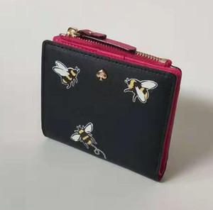 Bonito curto carteira feminina bolsa de abelha dos desenhos animados cão feminino saco de embreagem carteira bolsa multi-cartão feminino carteira bolsa de moedas de leopardo