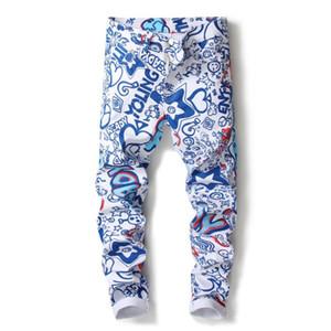 2019 Mens-Sommer-Jeans Mens neue Art und Weise dünne beiläufige bunte Denim motobiker Bleistift-Hosen-Qualitäts-Baumwolle Jeans