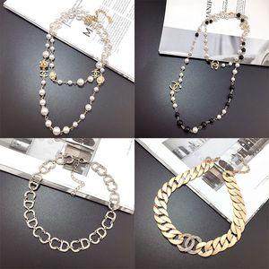 Regalo superior del oro de la perla de diseño collar C de la letra las mujeres collar de diamantes colgantes de cristal Luxurys Collares Señora joyería
