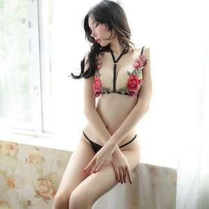 2019 new sexy lingerie embroidered rose hanging neck bra T-shaped open underwear three-point suit Sex toy JXW361