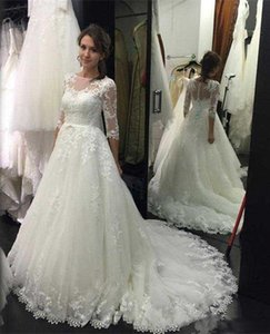 Hot Sale 3 4 Long Sleeves Wedding Dresses Lace A Line Sheer Neck Applique Bridal Wedding Gowns Sexy Buttons Back