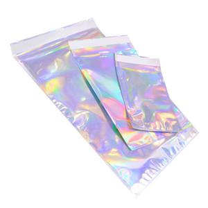 Kendinden mühür Yapışkan Kurye Torbaları Lazer Holografik Plastik Poly Zarf Mailer Posta Kargo Posta Çanta Kozmetik İç