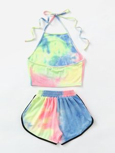 Gym Set Women Yoga Set Women Gradient Tie-dye Gradient Workout Clothes with Short Gym Wear Jogging Sport Fitness Clothing