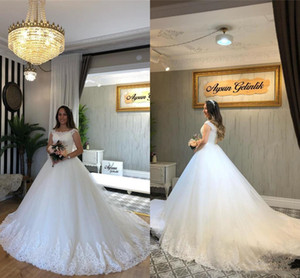 Charming A Line Scoop Neck Wedding Dressess With Back LAce Up Floor Length Custom MAde Vestido De Novia Appliqued LAce Bridal Gown