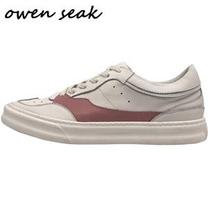 오웬 Seak 남성 캐주얼 신발 정품 가죽 레이스 업 스니커즈 봄 부츠 플랫 화이트 신발 트레이너