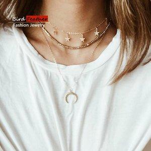 Gargantilla de color oro para las mujeres 3 estrellas en capas lunas cadena pendiente de los collares gargantillas de terciopelo joyería de moda