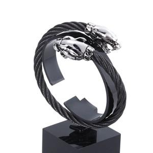 Erkekler Paslanmaz Çelik Açık Kilit Elastik Ayarlanabilir Bileklik Erkek Takı Gümüş Granny Chic Kablo leopar