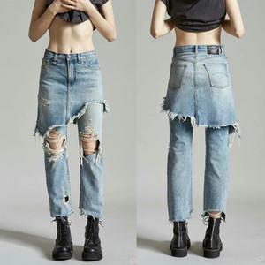 Весна Лето Женщины Hip Hop Поддельные два кусок джинсовой длинные брюки юбка Женский Сломанный Hole рваные Омывается Тонкий нерегулярные джинсы Trouses