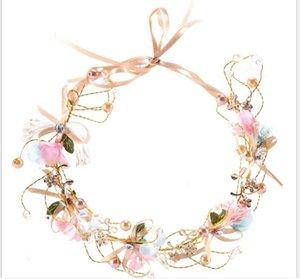 Handmade nupcial Bow Flower Wreath dama de honra Faixa de Cabelo Flower Child Headband cocar Foto Acessórios de cabelo