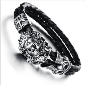 Bracelet leather accessories, men's accessories, titanium steel men's leather bracelet
