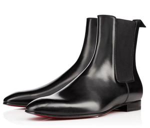 Kırmızı Alt Roadie Daire Erkekler Bilek Boots Tasarım Rahat Deri Mükemmel Parti Elbise Düğün Moda Casual Yürüyüş kış EU36-46