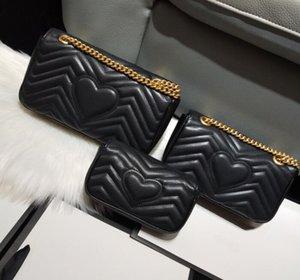 2021 Klassisches Design Top Qualität Liebhaber Herzform Umhängetaschen Frauen Kette Crossbody Make-up-Tasche Handtaschen Geldbörse 3 Szie L M S