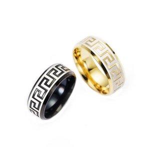 Роскошный мужской 316 титана стали 18K желтое золото гальваническим греческий ключ обручальное кольцо Мужчины Женщины Silver / Gold 2 Цвет ювелирных изделий