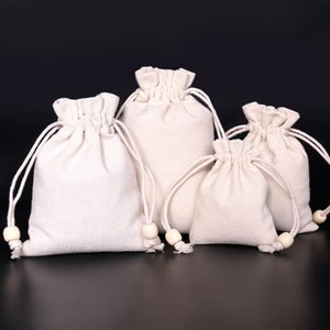 50pcs (7*9cm 9*13cm 11*14cm 13*17cm) Linen Bag Sack Jewelry Bags Wedding Party Candy Beads Packing Christmas Gift Bag